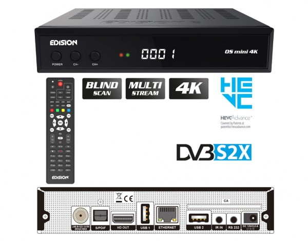 EDISION OS Mini 4K S2X Multistream Linux E2 SAT Receiver H.265/HEVC HDMI USB Kartenleser