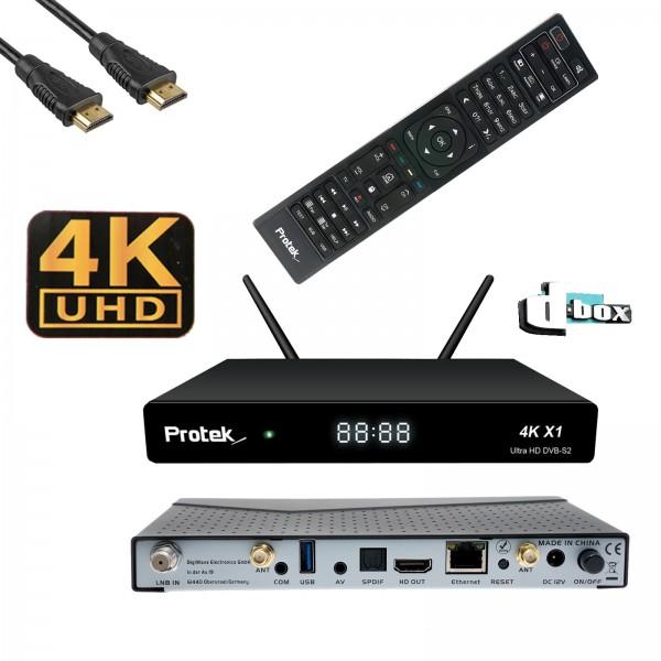 Wlanabel Set:Protek X1 4K UHD 2160p Linux DVB-S2 Sat Receiver, Dbox Logo