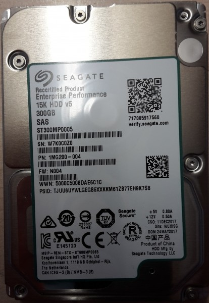 "Seagate 300 GB 2,5"" SAS 12Gb/s 15000 rpm 128MB 24x7 Enterprise Performance HDD ST300MP0005"