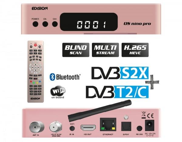 EDISION OS NINO PRO Full HD Linux E2 Combo-Receiver H.265/HEVC 1x DVB-S2X, 1x DVB-T2/C rosegold