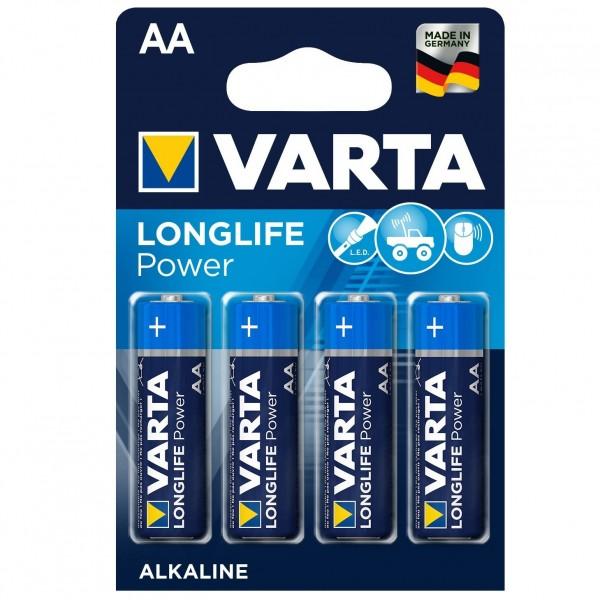 VARTA Alkaline Longlife Power 4 Stück Batterien AA LR6 MN1500 1,5V