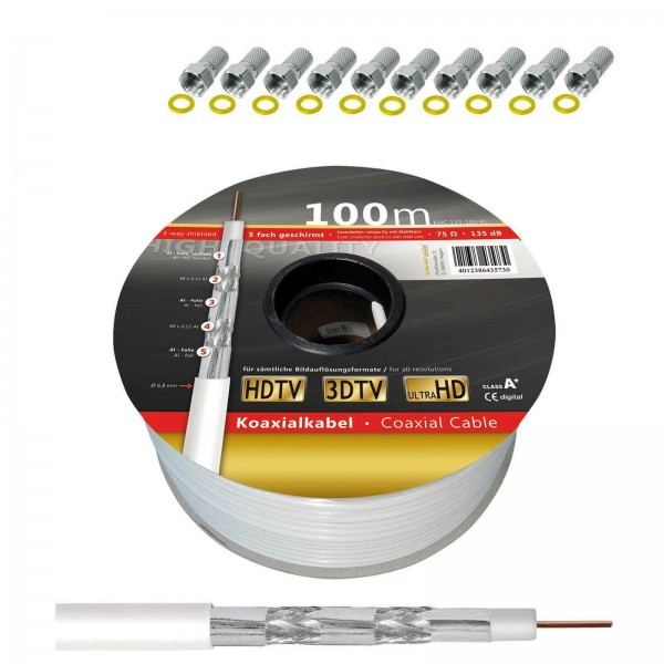Koaxialkabel 100m Rolle 135 dB 5-fach geschirmt Klasse A+ Brandschutzklasse Eca inkl. 10 F-Stecker