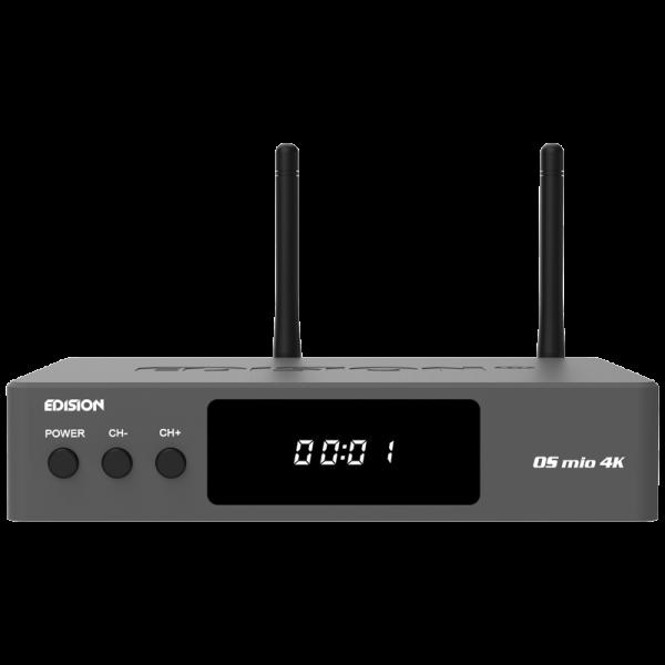 EDISION OS MIO 4k UHD Full HD Linux E2 Combo-Receiver H.265/HEVC 1x DVB-S2X, 1x DVB-T2/C grau