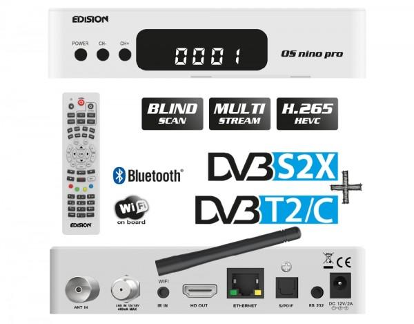EDISION OS NINO PRO Full HD Linux E2 Combo-Receiver H.265/HEVC 1x DVB-S2X, 1x DVB-T2/C weiß