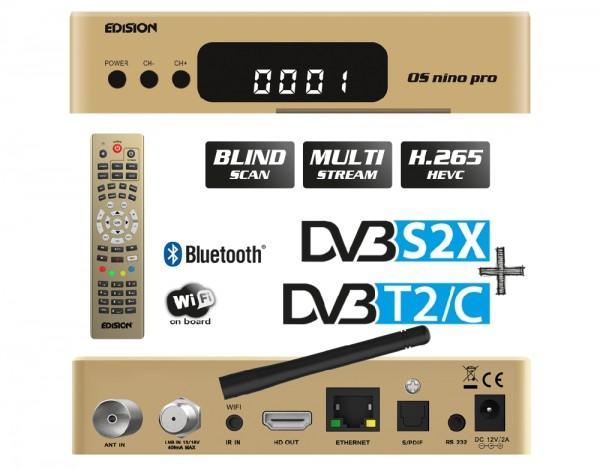 EDISION OS NINO PRO Full HD Linux E2 Combo-Receiver H.265/HEVC 1x DVB-S2X, 1x DVB-T2/C gold