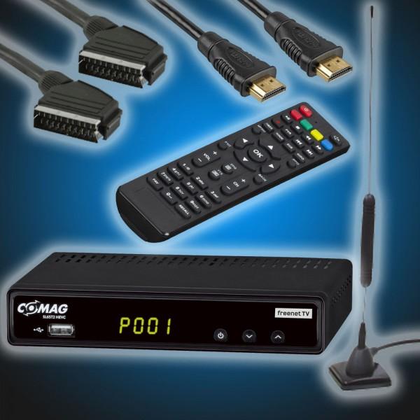 Komplettset: COMAG SL65T2 DVBT/T2 FreenetTV Receiver H265 inkl. Stabantenne, HDMI und Scart Kabel