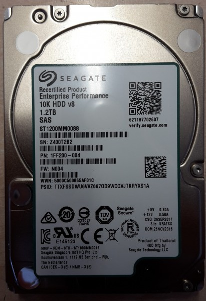 "Seagate 1,2 TB 2,5"" SAS 12 GB/s 10000 rpm 128 MB 24x7 Enterprise Performance 10K 512n ST1200MM0088"