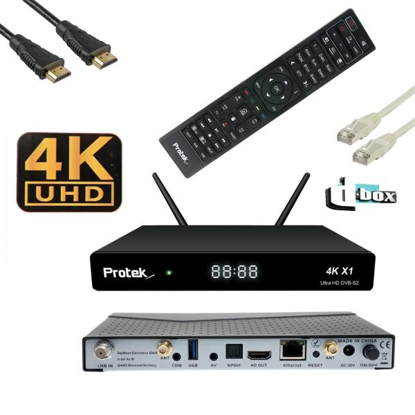 Wlanabel Set:Protek X1 4K UHD 2160p Linux DVB-S2 Sat Receiver inkl.20m FTP-Patchkabel,Dbox Logo