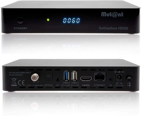Mutant HD60 4K UHD 2160p E2 Linux 1xDVB-S2X Sat Receiver inkl. HDMI Kabel