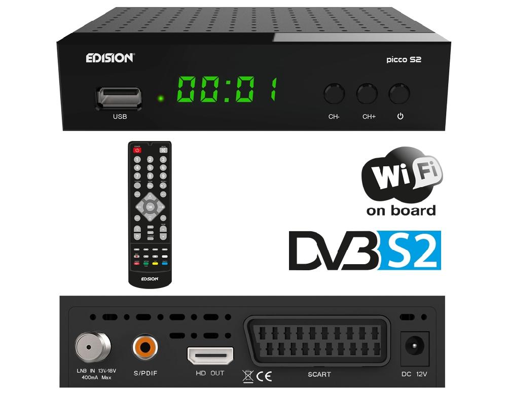 EDISION PICCO S2 Full HD SAT Receiver (1x DVB-S2, WLAN, USB, HDMI, SCART, S/P...